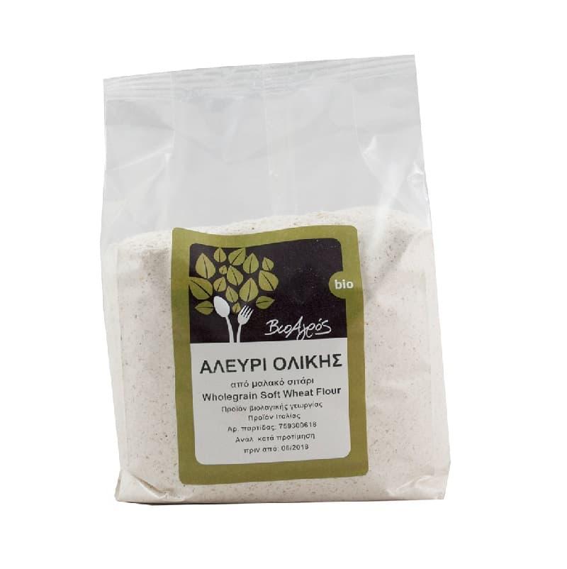 Βιολογικό αλεύρι ολικής από μαλακό σιτάρι 1kg, Βιοαγρός
