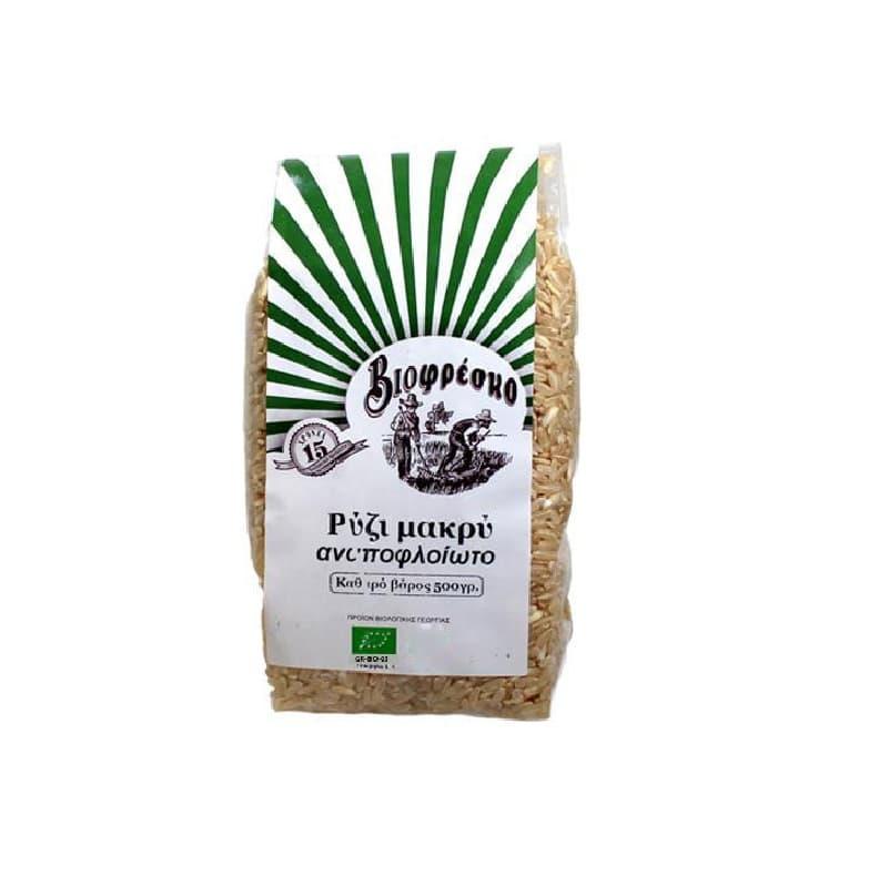Βιολογικό ρύζι μακρύ αναποφλοίωτο 500g