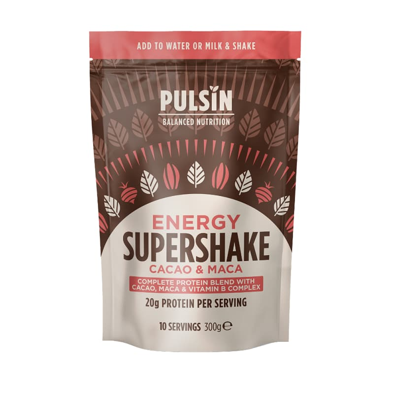 Μείγμα πρωτεϊνών και υπερτροφών μάκα-σοκολάτα 300g, Pulsin
