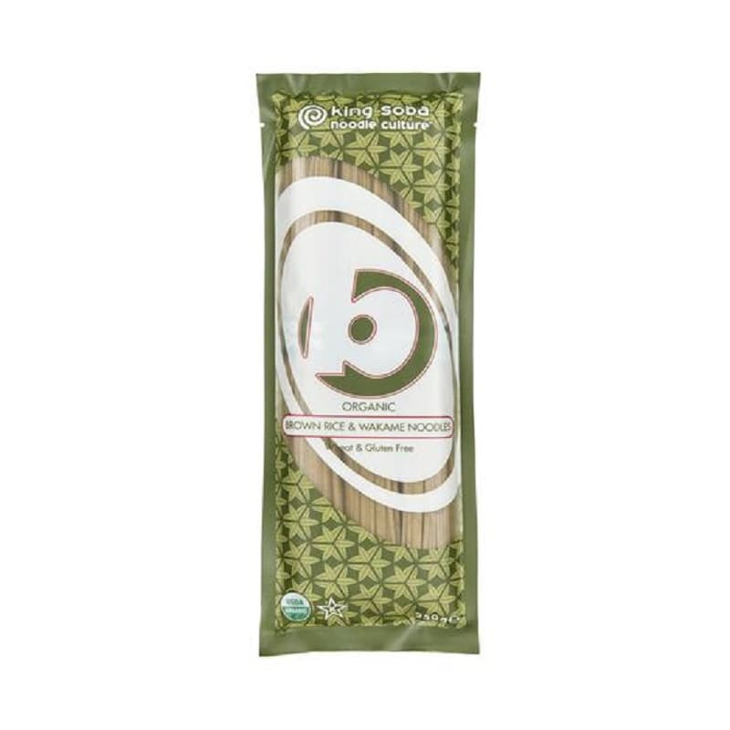 Βιολογικά νουντλς από καστανό ρύζι και φύκια Wakame 250g, King Soba