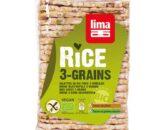 Βιολογικές λεπτές ρυζογκοφρέτες με 3 δημητριακά 130g, lima
