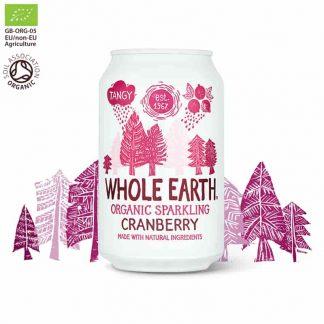 Βιολογικό ανθρακούχο ποτό Κράνμπερι 330ml, Whole Earth