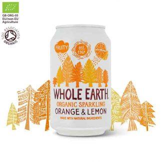 Βιολογικό ανθρακούχο ποτό Πορτοκάλι & Λεμόνι 330ml, Whole Earth