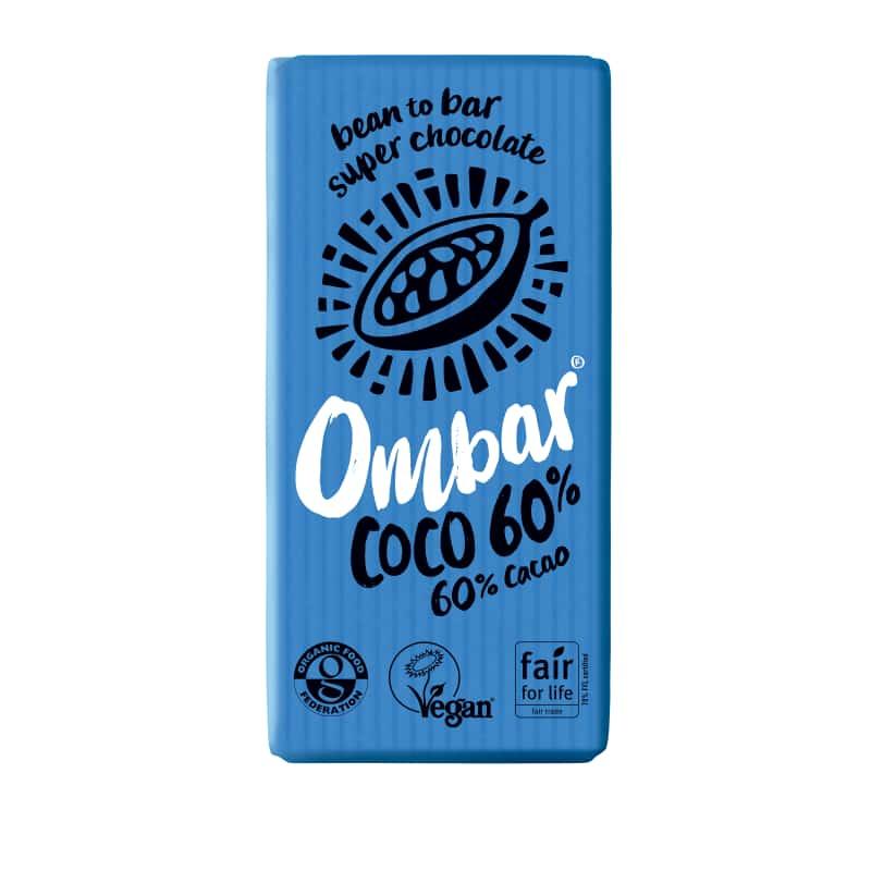 Βιολογική ακατέργαστη μαύρη σοκολάτα με κρέμα καρύδας 35g, Ombar