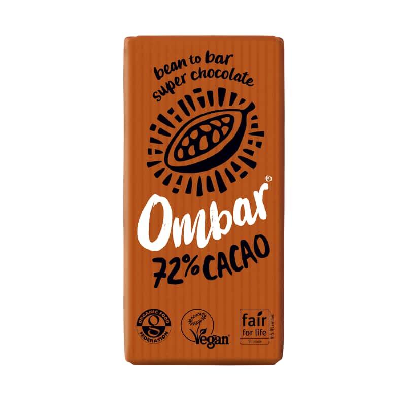 Βιολογική ακατέργαστη μαύρη σοκολάτα 72% κακάο 35g, Ombar