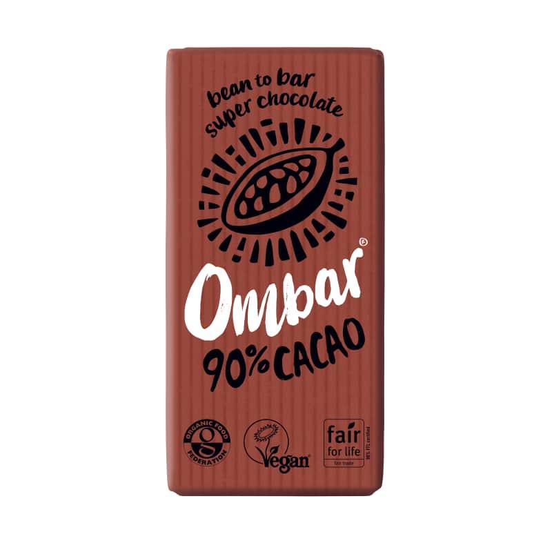 Βιολογική ακατέργαστη μαύρη σοκολάτα 90% κακάο 35g, Ombar