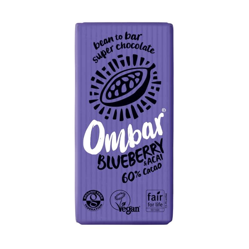 Βιολογική ακατέργαστη σοκολάτα με μύρτιλλα και ακάι 35g, Ombar