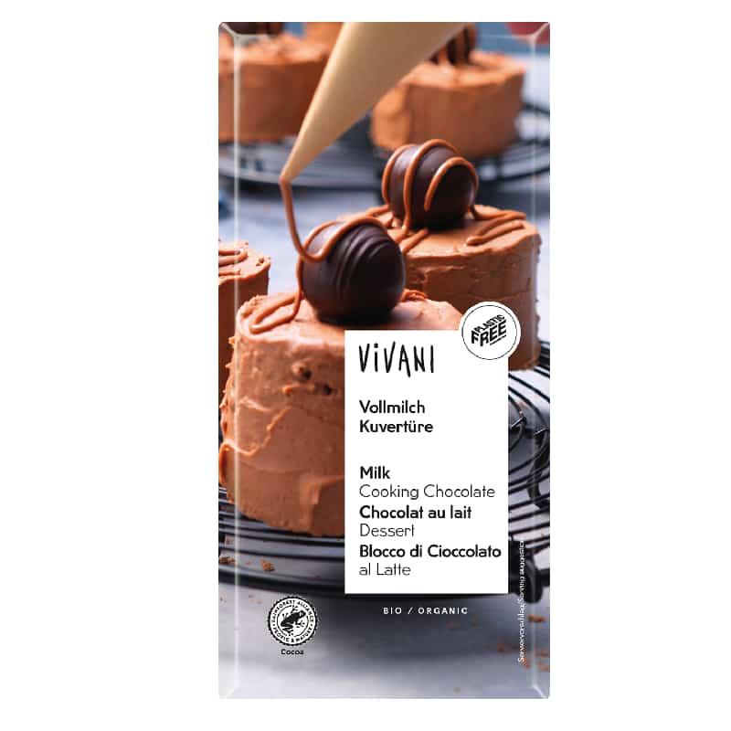 Βιολογική κουβερτούρα γάλακτος 200g, Vivani