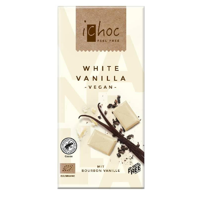 Βιολογική λευκή σοκολάτα Βανίλια 80g, iChoc