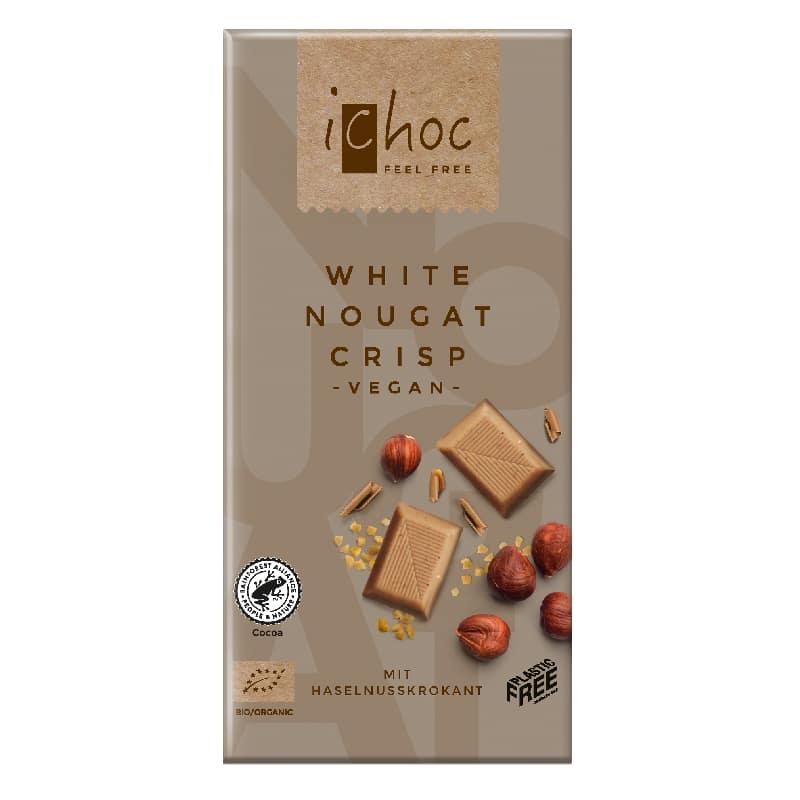 Βιολογική λευκή σοκολάτα Νουγκατίνα Φουντουκιού 80g, iChoc