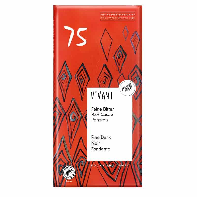 Βιολογική μαύρη σοκολάτα με 75% κακάο Παναμά 80g, Vivani