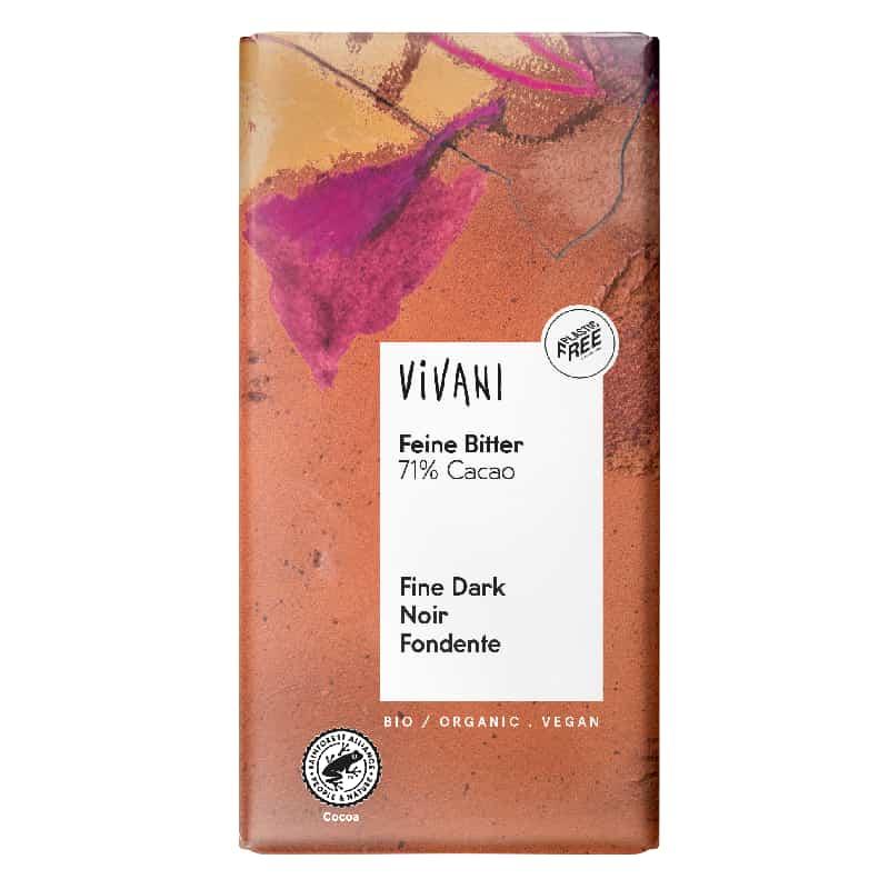 Βιολογική μαύρη σοκολάτα 71% κακάο 100g, Vivani