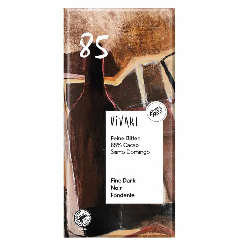 Βιολογική μαύρη σοκολάτα 85% με κακάο grande 100g, Vivani