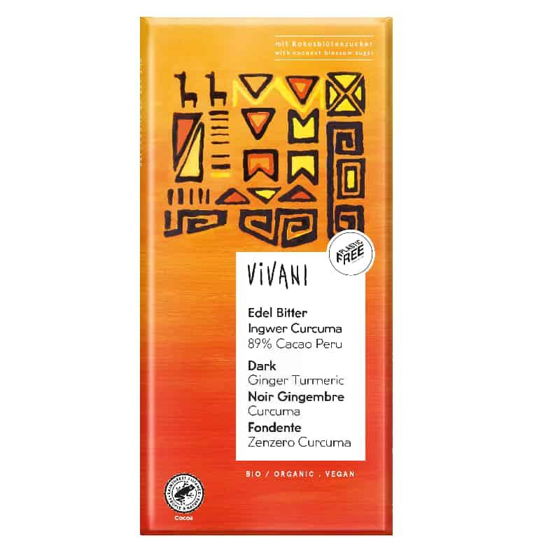 Βιολογική μαύρη σοκολάτα 89% κακάο με τζίντζερ & κουρκουμά 80g, Vivani