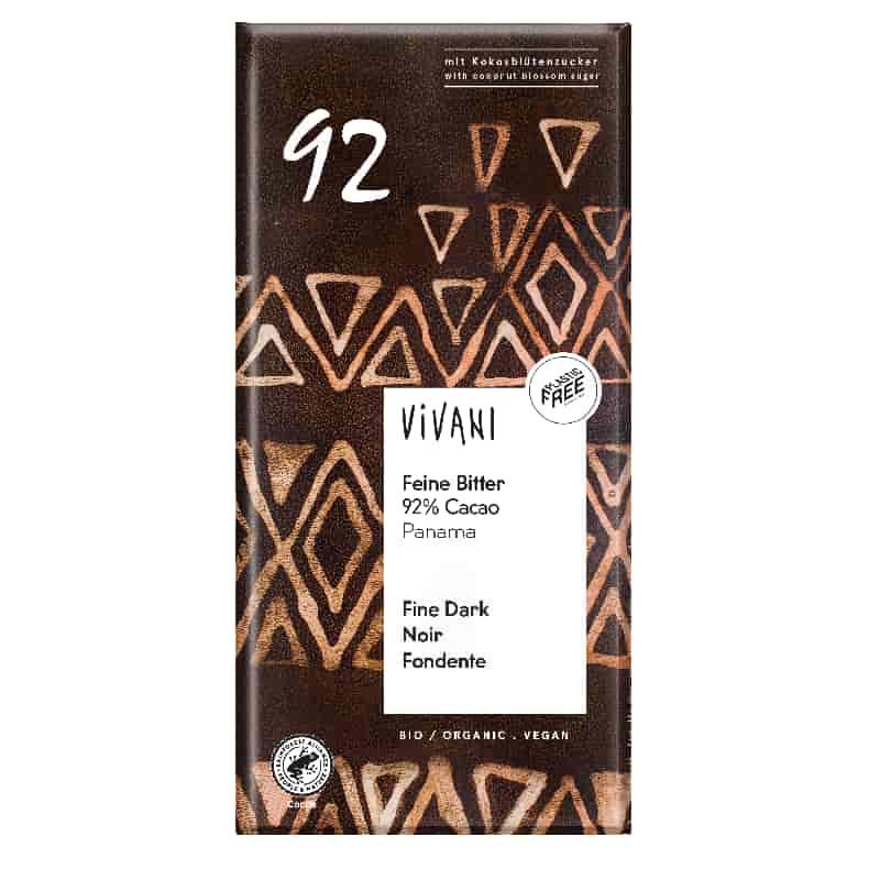 Βιολογική μαύρη σοκολάτα 92% με κακάο Παναμά 80g, Vivani