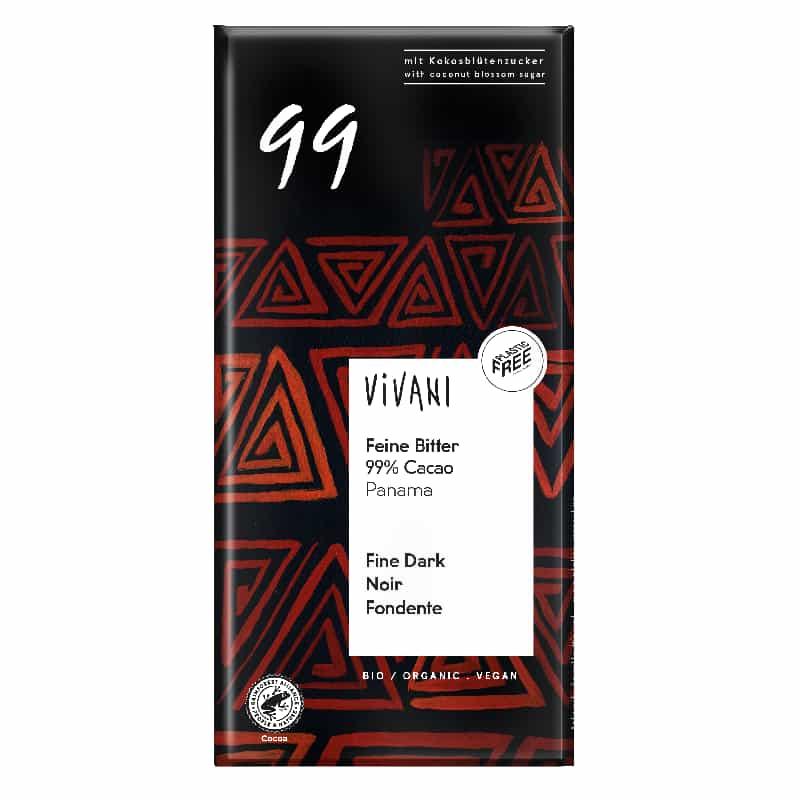 Βιολογική μαύρη σοκολάτα 99% με κακάο Παναμά 80g, Vivani