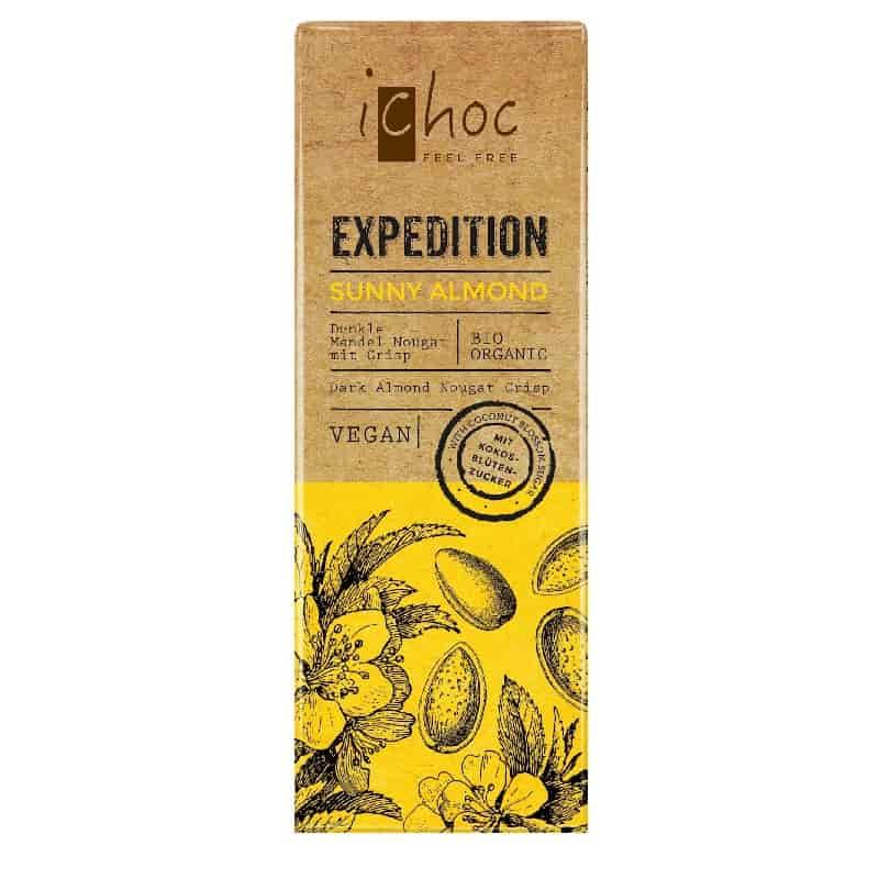 Βιολογική μαύρη σοκολάτα Sunny Almond 50g, iChoc