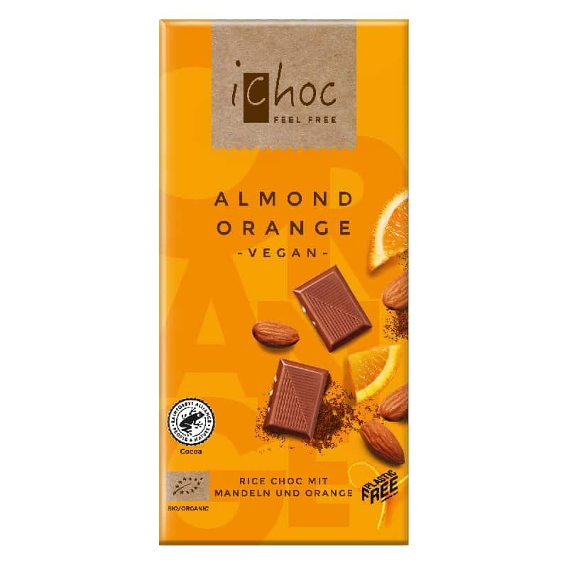 Βιολογική σοκολάτα με αμύγδαλο και πορτοκάλι 80g, iChoc