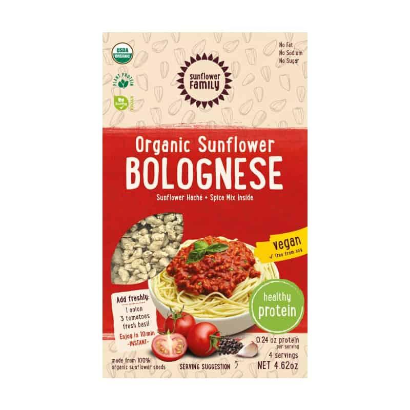 Βιολογικός κιμάς ηλιόσπορου (76g) + Μείγμα καρυκευμάτων Bolognese (55g), Sunflower Family