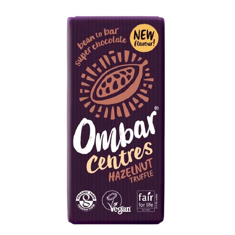 Βιολογική ακατέργαστη μαύρη σοκολάτα με φουντούκι 70g, Ombar