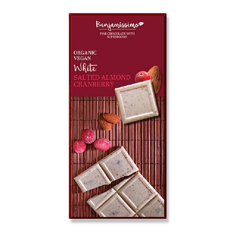 Βιολογική λευκή σοκολάτα με αλατισμένα αμύγδαλα & κράνμπερις 70g, Benjamissimo