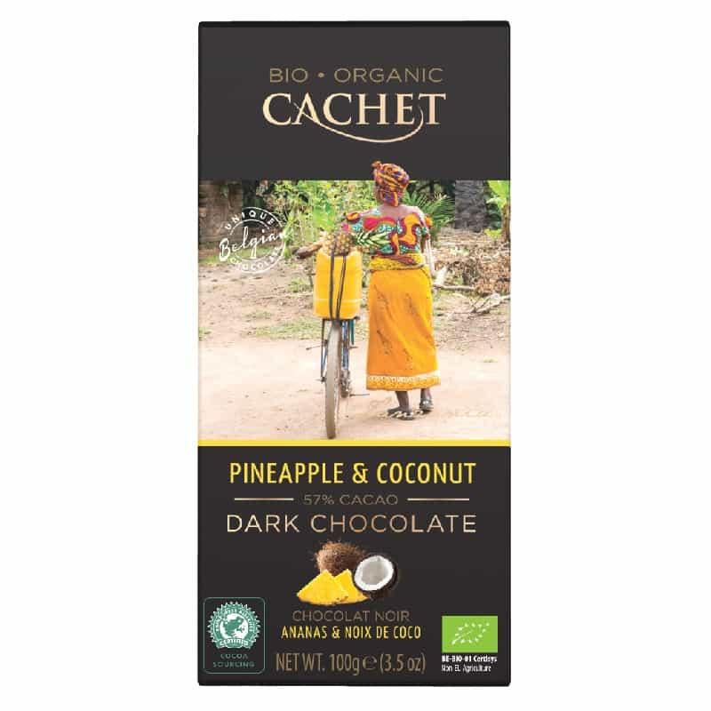 Βιολογική μαύρη σοκολάτα με 57% κακάο & ανανά 100g, Cachet