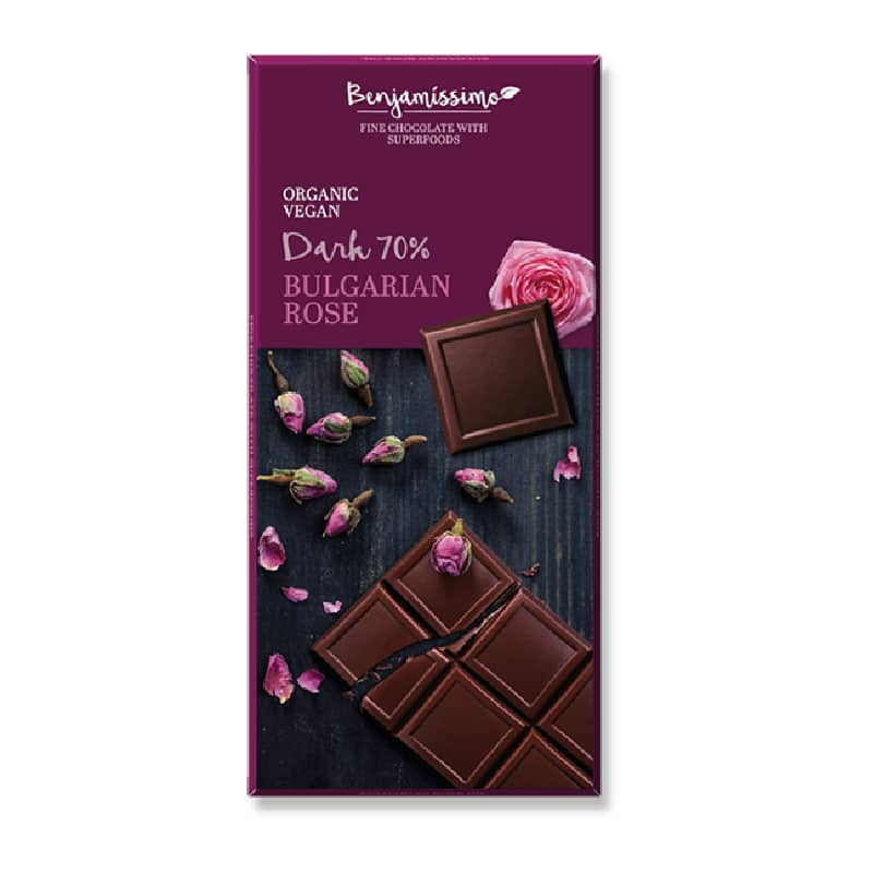 Βιολογική μαύρη σοκολάτα 70% με ροδόνερο 70g, Benjamissimo