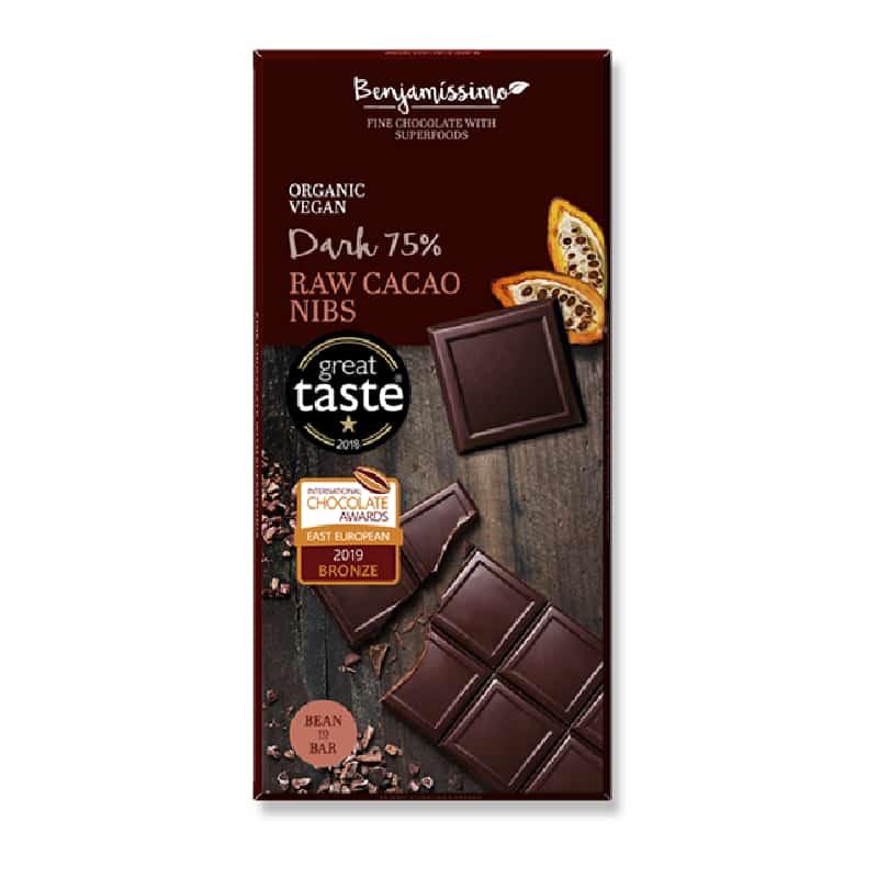 Βιολογική μαύρη σοκολάτα 75% με κομματάκια κακάο 70g, Benjamissimo