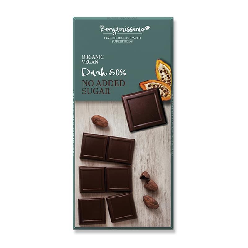 Βιολογική μαύρη σοκολάτα 80% κακάο χωρίς ζάχαρη 70g, Benjamissimo