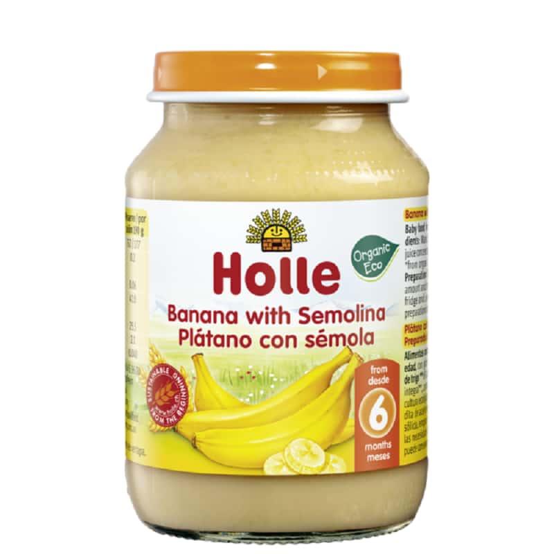 Βιολογική μπανάνα με σιμιγδάλι σε βάζο 190g, Holle