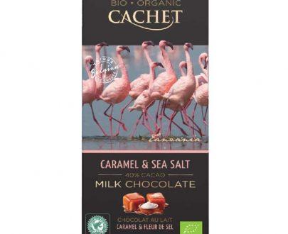 Βιολογική σοκολάτα γάλακτος με καραμέλα & θαλασσινό αλάτι 100g, Cachet