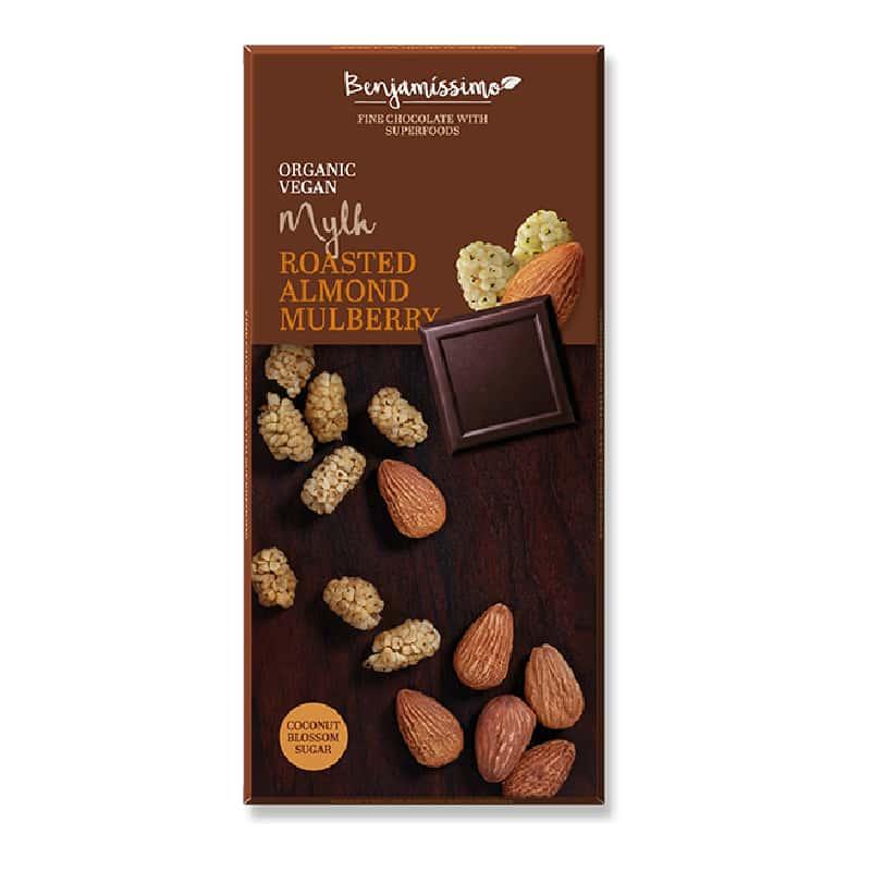 Βιολογική σοκολάτα με καβουρδισμένα αμύγδαλα & λευκά μούρα 70g, Benjamissimo