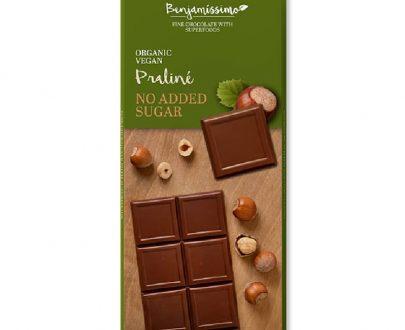 Βιολογική σοκολάτα με πραλίνα χωρίς ζάχαρη 70g, Benjamissimo