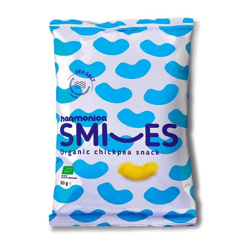 Βιολογικά γαριδάκια ρεβυθιού Smiles με αλάτι 50g, harmonica