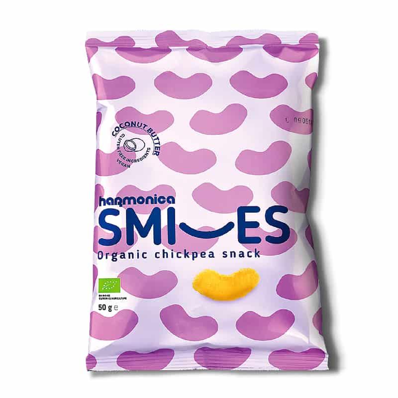Βιολογικά γαριδάκια ρεβυθιού Smiles με βούτυρο καρύδας 50g, harmonica