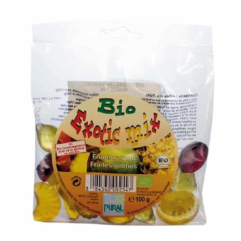 Βιολογικά ζαχαρωτά φρούτων Exotic Mix 100g, Pural