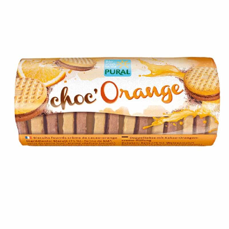 Βιολογικά μπισκότα με σοκολάτα & πορτοκάλι 85g, Pural