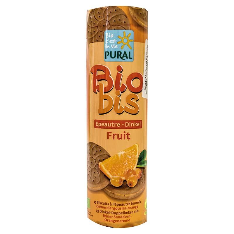 Βιολογικά μπισκότα ντίνκελ με πορτοκάλι & ιπποφαές 300g, Pural