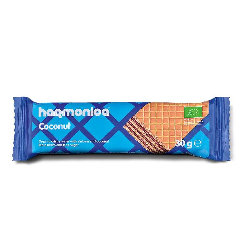 Βιολογική γκοφρέτα μονόκοκκου σίτου με καρύδα 30g, harmonica