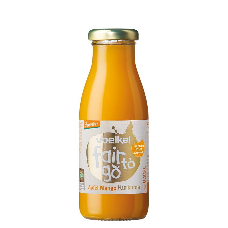 Βιολογικός χυμός Fair To Go μήλο, μάνγκο & κουρκουμά 250ml, Voelkel