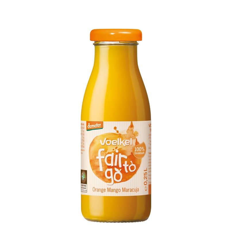 Βιολογικός χυμός Fair To Go πορτοκάλι, μάνγκο & φρούτα του πάθους 250ml, Voelkel