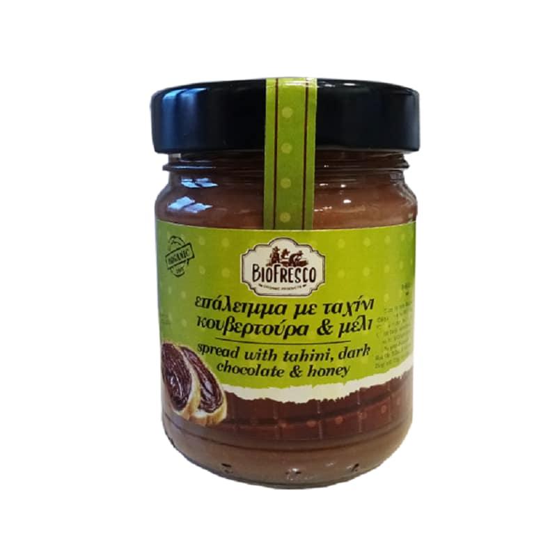 Βιολογικό επάλειμμα με ταχίνι, κουβερτούρα & μέλι 370g, Βιοφρέσκο
