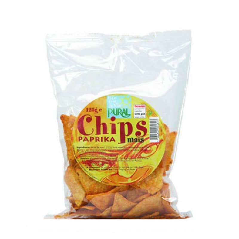 Βιολογικά nachos καλαμποκιού με πάπρικα 125g, Pural