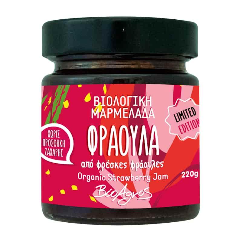 Βιολογική μαρμελάδα φράουλα χωρίς ζάχαρη 220g, Βιοαγρός